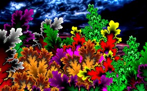 Картинка лето, яркие краски, абстракция, рендеринг, фантазия, фракталы, рисунок, картинка, грозовое небо, летняя ночь, сказочные цветы