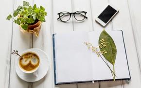 Картинка цветок, цветы, кофе, очки, блокнот, wood, notebook, flowers, coffee, smartphone, mobile