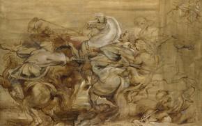 Картинка животные, картина, баталия, Питер Пауль Рубенс, Peter Paul Rubens, Охота на Льва