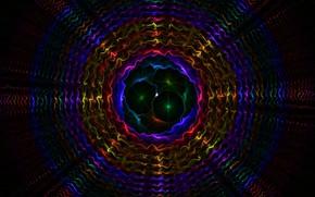 Картинка графика, вибрация, мульти цветной фон, паттерны, круговые линии, резонанс