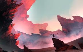 Картинка Горы, Рисунок, Скалы, Силуэт, Пейзаж, Арт, Landscapes, Digital Art, Sunlight, TacoSauceNinja, by TacoSauceNinja, Sunlight 3
