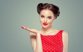 Картинка девушка, лицо, стиль, ретро, красное, модель, волосы, рука, макияж, прическа, жест, винтаж, локоны, маникюр, красная …