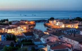 Картинка море, город, Франция, пристань, дома, вечер, порт, мол, Saint-Martin-de-Ré