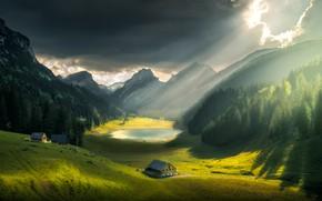 Обои небо, облака, лучи, свет, пейзаж, горы, природа, озеро, холмы, дома, Швейцария, долина, леса, луга, Ilhan ...