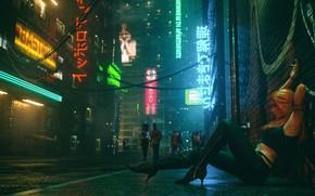 Картинка Девушка, Ночь, Музыка, Улица, Люди, Фон, Neon, Club, Cyber, Cyberpunk, Synth, Retrowave, Synthwave, New Retro …