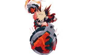 Картинка парень, Boku No Hero Academia, Моя Геройская Академия, Бакуго Катсуки, боевой костюм