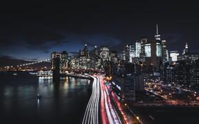 Картинка city, lights, USA, bridge, night, Manhattan, New - York, skycrapers