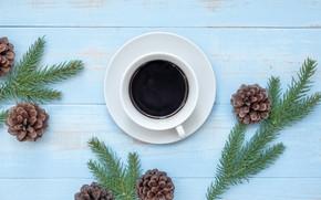 Картинка украшения, Новый Год, Рождество, Christmas, wood, New Year, coffee cup, decoration, чашка кофе, Merry, fir ...