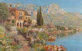 Картинка Alois Arnegger, Austrian painter, австрийский живописец, oil on canvas, Алоис Арнеггер, Вид Ривы на озере …