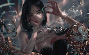 Картинка girl, fantasy, green eyes, brunette, digital art, artwork, princess, fantasy art, jewelry, fantasy girl, bare …