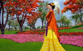 Обои девушка, цветы, модель, зонт, Япония, сад, мода