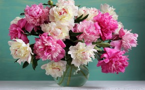 Картинка цветы, букет, ваза, розовые, white, pink, flowers, пионы, still life, peonies