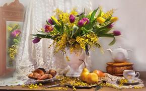 Картинка цветы, чайник, зеркало, тюльпаны, шкатулка, ваза, фрукты, натюрморт, груши, занавеска, выпечка, мимоза, Валентина Колова