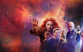 Картинка James McAvoy, Michael Fassbender, Jennifer Lawrence, Sophie Turner, X Men, Dark Phoenix, Люди икс