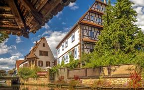 Обои небо, солнце, облака, деревья, цветы, мост, река, Франция, дома, канал, кусты, Alsace, Weissenburg