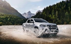 Картинка вода, горы, брызги, Mercedes-Benz, пикап, 2018, X-Class, серо-серебристый