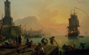 Картинка картина, живопись, painting, Claude-Joseph Vernet, A Calm at a Mediterranean Port, Клод-Жозеф Вернет, 1770, беспечное …
