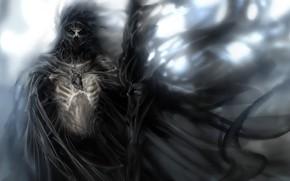 Картинка смерть, страх, череп, скелет, жнец, лохмотья, memento mori, саван, смотрит в душу