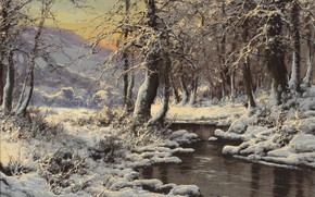 Картинка Laszlo Neogrady, Hungarian painter, Ласло Неогради, венгерский живописец, Зимний поток, Winter Stream