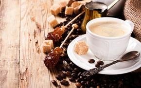 Картинка стол, кофе, чашка, сахар, кофейные зерна, Эспрессо, Iryna Melnyk