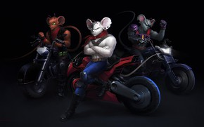 Картинка Минимализм, Рисунок, Байк, Art, Фантастика, Helix, Мотоциклы, Game Art, Винни, Фан Арт, Biker Mice from …