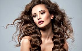 Картинка взгляд, девушка, поза, модель, макияж, локоны, Valua Vitaly