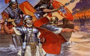Картинка Доспехи, Солдаты, Воины, Щит, Мужчины, Копьё, Римские легионеры, Древнеримская армия, Roman Warrior, Roman empire