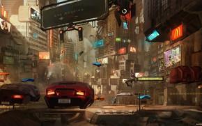 Картинка Авто, Город, Игра, Будущее, Машины, Арт, Art, Фантастика, Concept art, Cyberpunk 2077, Cyberpunk, Francesco Lorenzetti, …
