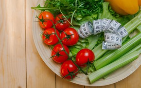 Картинка зелень, овощи, помидоры, диета, сантиметр