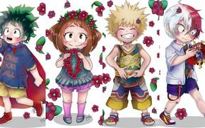 Картинка цветы, дети, коллаж, девочка, мальчики, My Hero Academia, Boku No Hero Academia, Мидория Изуку, Тодороки …