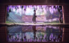 Картинка отражение, комната, японка, сад, сумка, кимоно, лучи света, каменная стена, глициния, вистерия, вполоборота, by Mocha