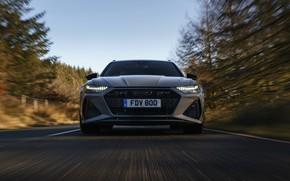 Картинка движение, Audi, фары, перед, решётка, универсал, RS 6, 2020, 2019, V8 Twin-Turbo, RS6 Avant, UK-version