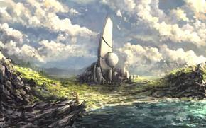 Картинка иной мир, строение, путник