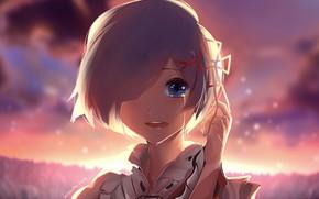 Картинка лицо, слёзы, чёлка, красный бантик, вечернее небо, Re Zero kara Hajimeru Isekai Seikatsu, Rem (Re: …
