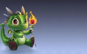 Картинка цветок, пламя, арт, дракончик, огонёк, детская, розочка, Маленький дракончик, Andy Kilpatrick, Lil Baby Dragon, Энди …