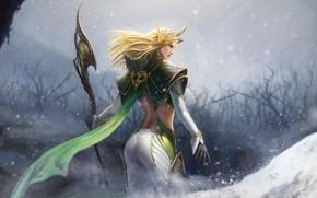Картинка girl, fantasy, armor, blue eyes, snow, artist, blonde, elf, artwork, fantasy art, helmet, staff, magician, …