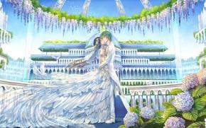 Картинка парк, поцелуй, сад, купол, свадьба