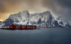 Картинка море, горы, берег, дома