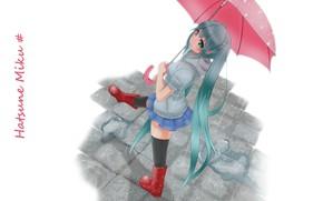 Картинка дождь, белый фон, vocaloid, Hatsune Miku, длинные волосы, вокалоид, гуляет, красный зонт, Хатсуне Мику, резиновые …