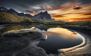 Картинка вода, пейзаж, горы, природа, отражение, рассвет, утро, Исландия