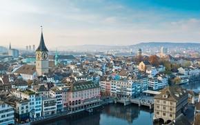 Картинка озеро, башня, дома, Швейцария, панорама, Цюрих