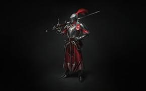 Картинка Минимализм, Доспехи, Меч, Воин, Арт, Art, Warrior, 1500, Knight, Minimalism, Sword, Armor, Character, Max Yenin, …