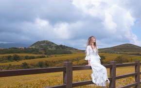 Картинка поле, девушка, горы, природа, настроение, релакс, забор, ситуация, азиатка, сидит, белое платье, закрытые глаза