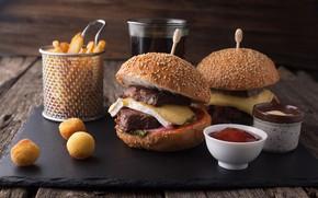 Картинка сыр, мясо, соус, гамбургер, булочки, ветчина