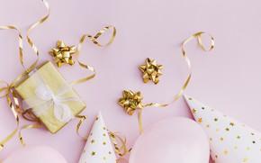 Картинка фон, розовый, подарок, колпак, balloon, Воздушный шарики, gift-box