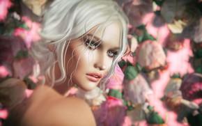 Картинка девушка, лицо, фон, блондинка
