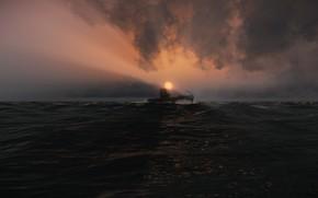 Картинка море, небо, подлодка, submarine, Silent Hunter 5