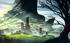 Картинка деревья, горы, холмы, башни, Castle City