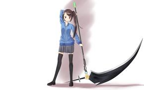 Картинка девушка, оружие, коса