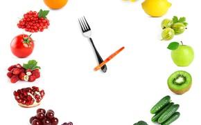 Картинка лимон, часы, яблоко, киви, земляника, виноград, фрукты, овощи, сливы, помидоры, абрикосы